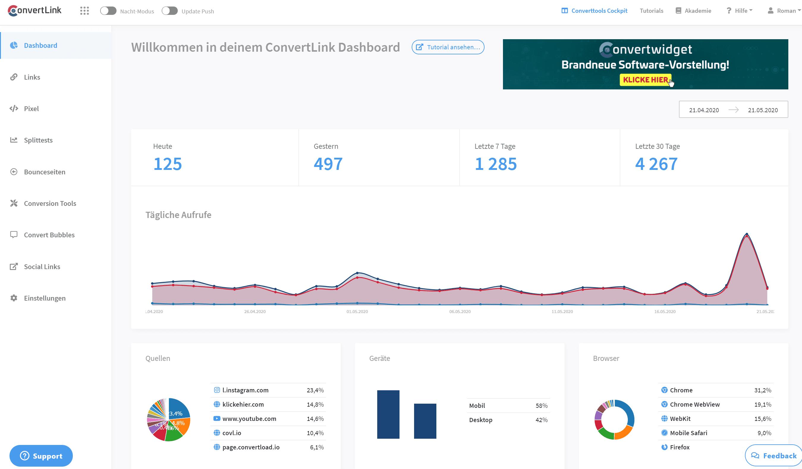 Convertlink Dashboard