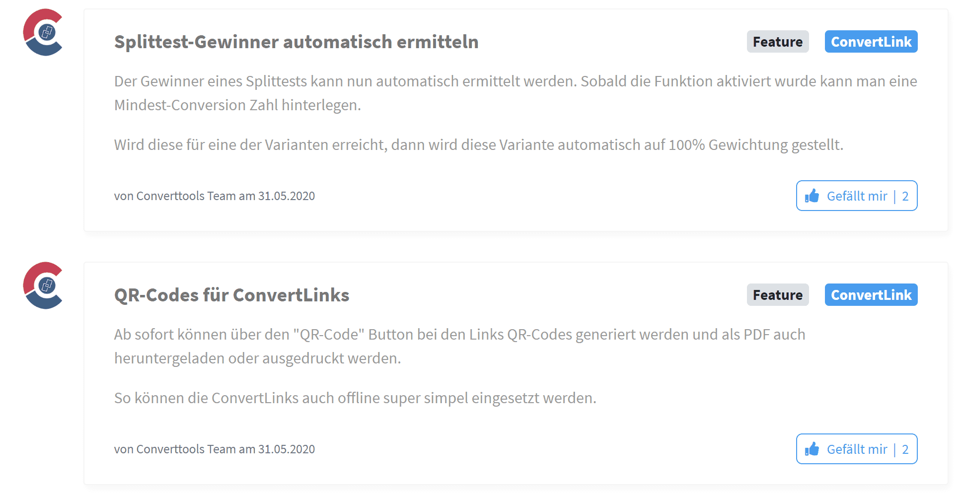 Convertlink Updates