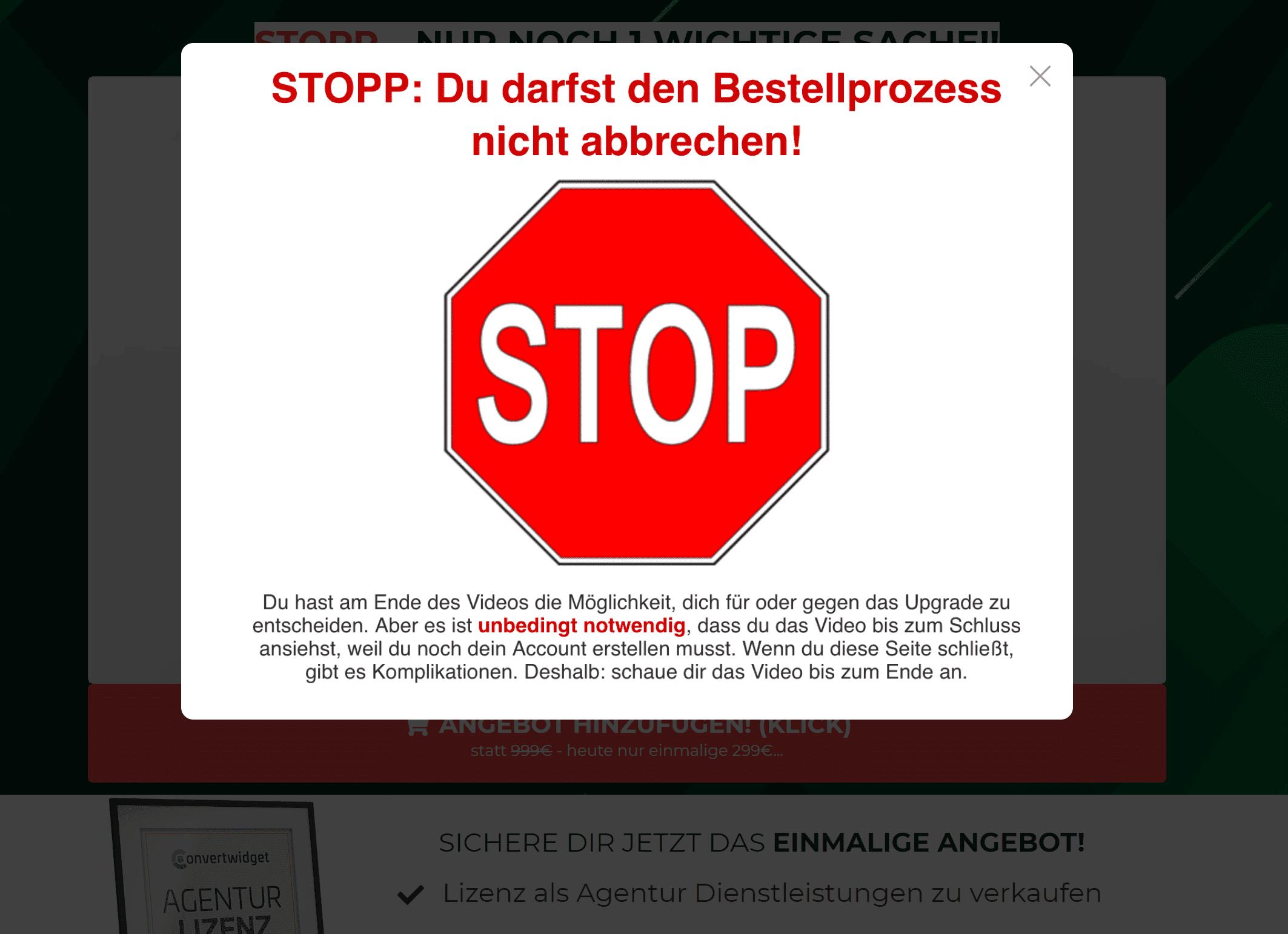 Exit Intent Pop Up Beispiel Stop