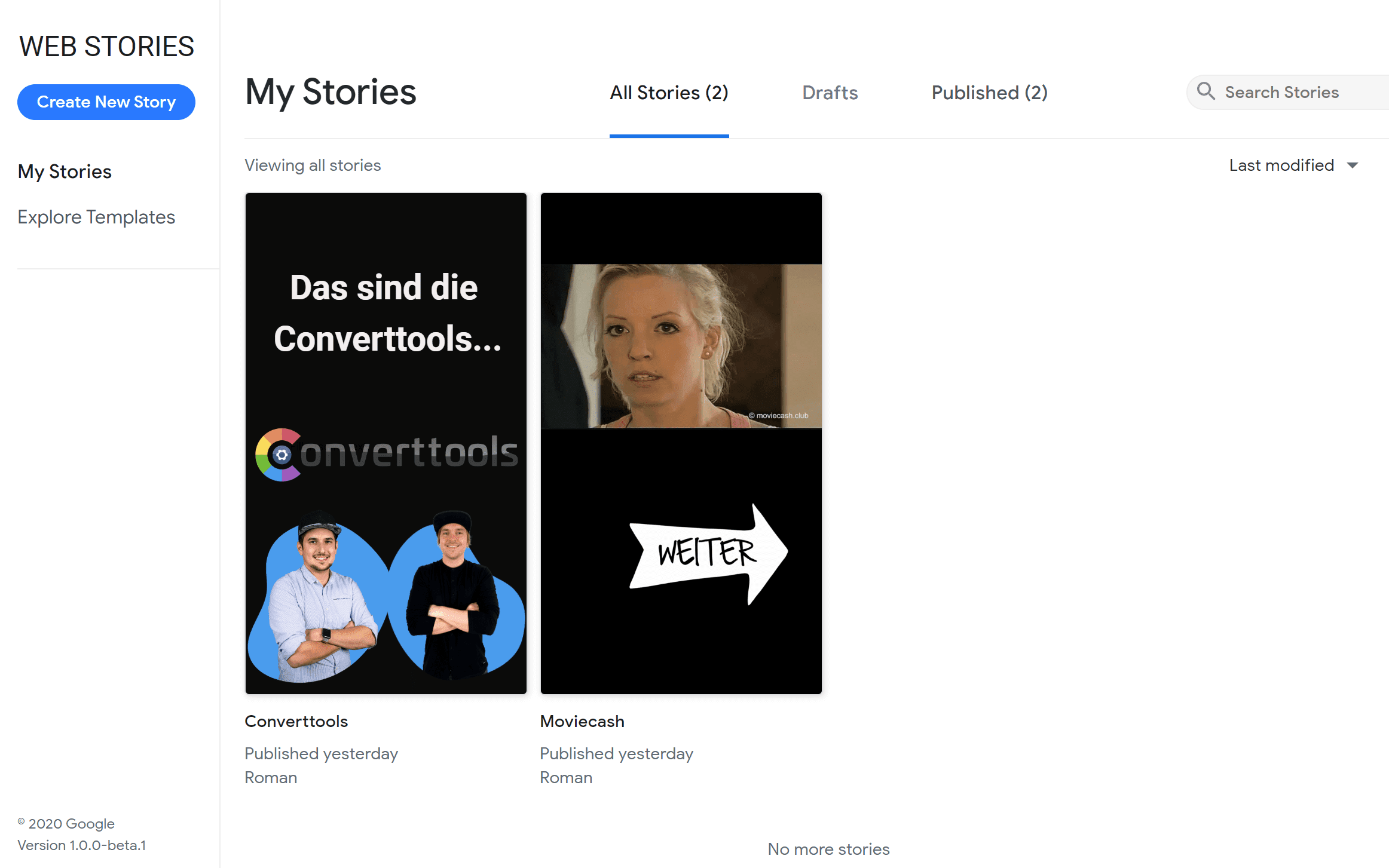 Google Web Stories Dashboard