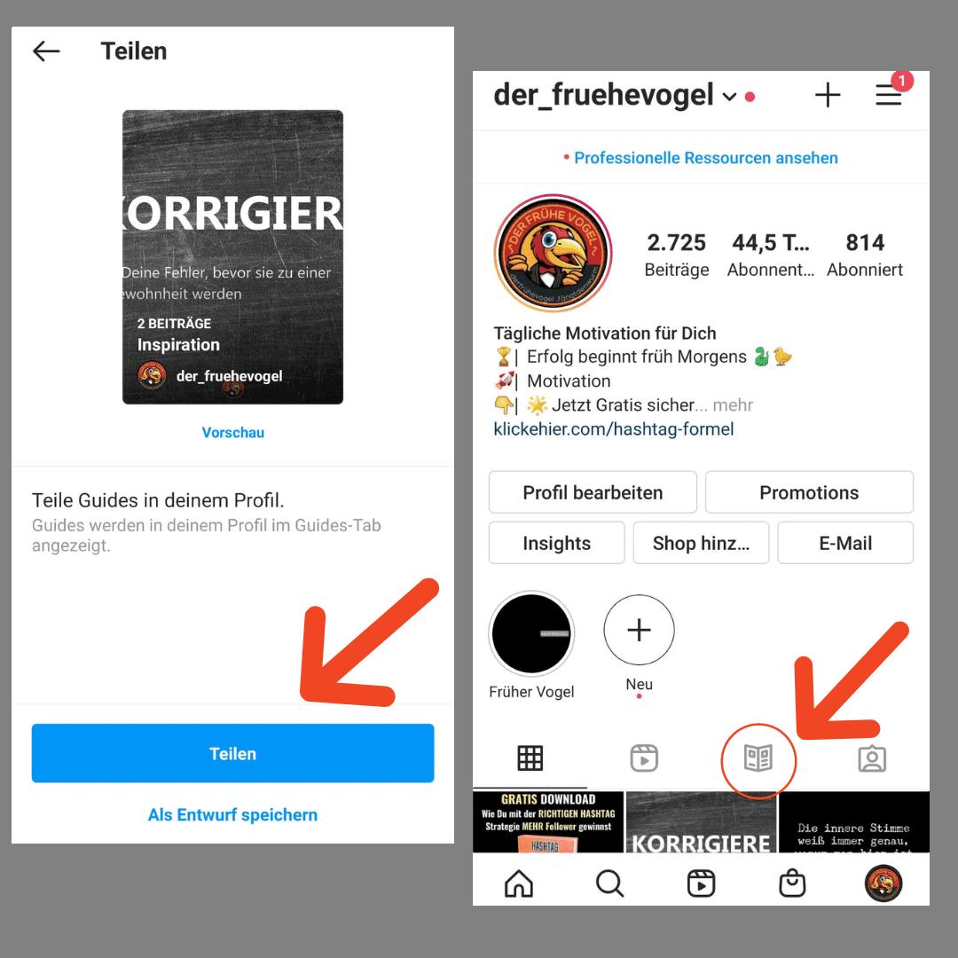 Instagram Guides teilen