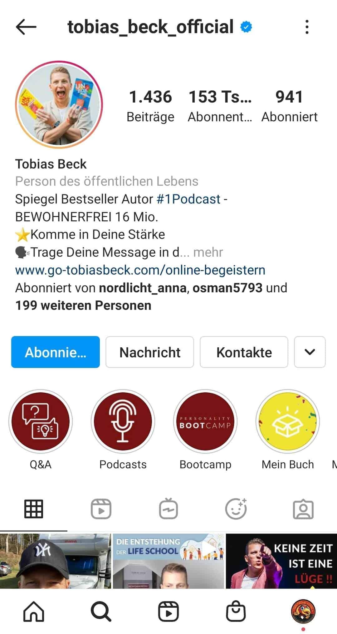 Instagram Story Highlights Cover erstellen Beispiel Inhalte