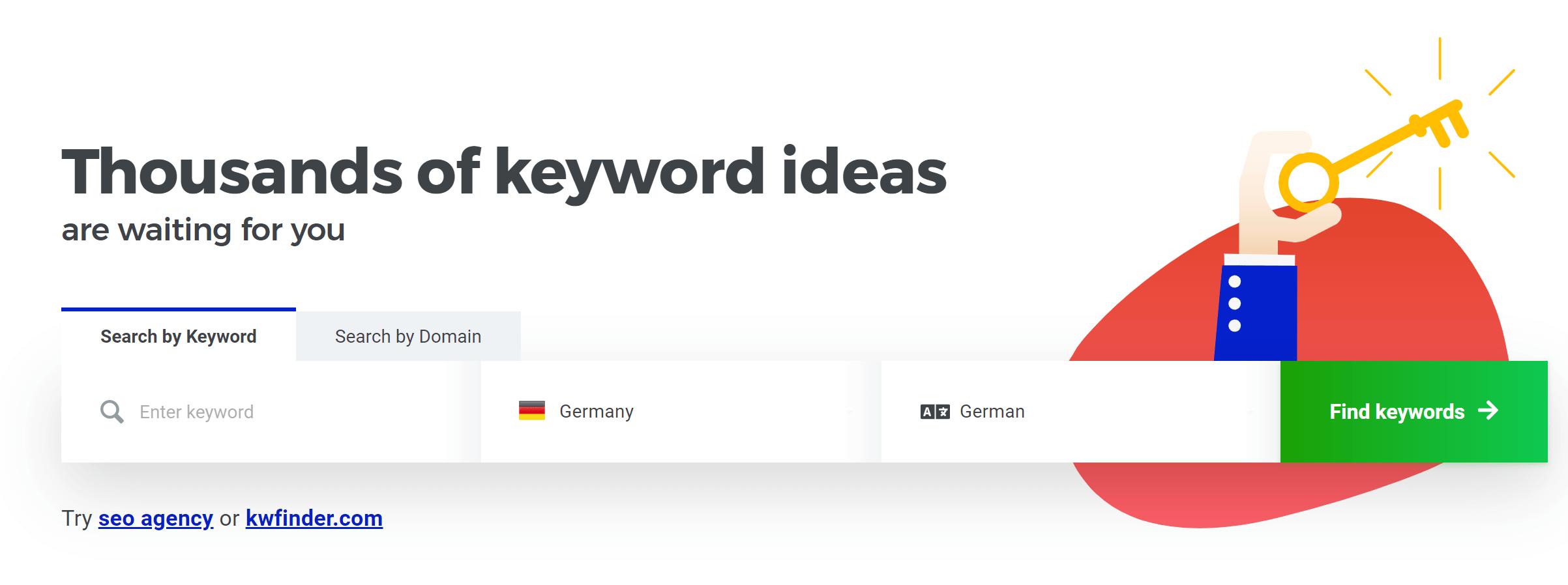 KWFinder Keyword Suche