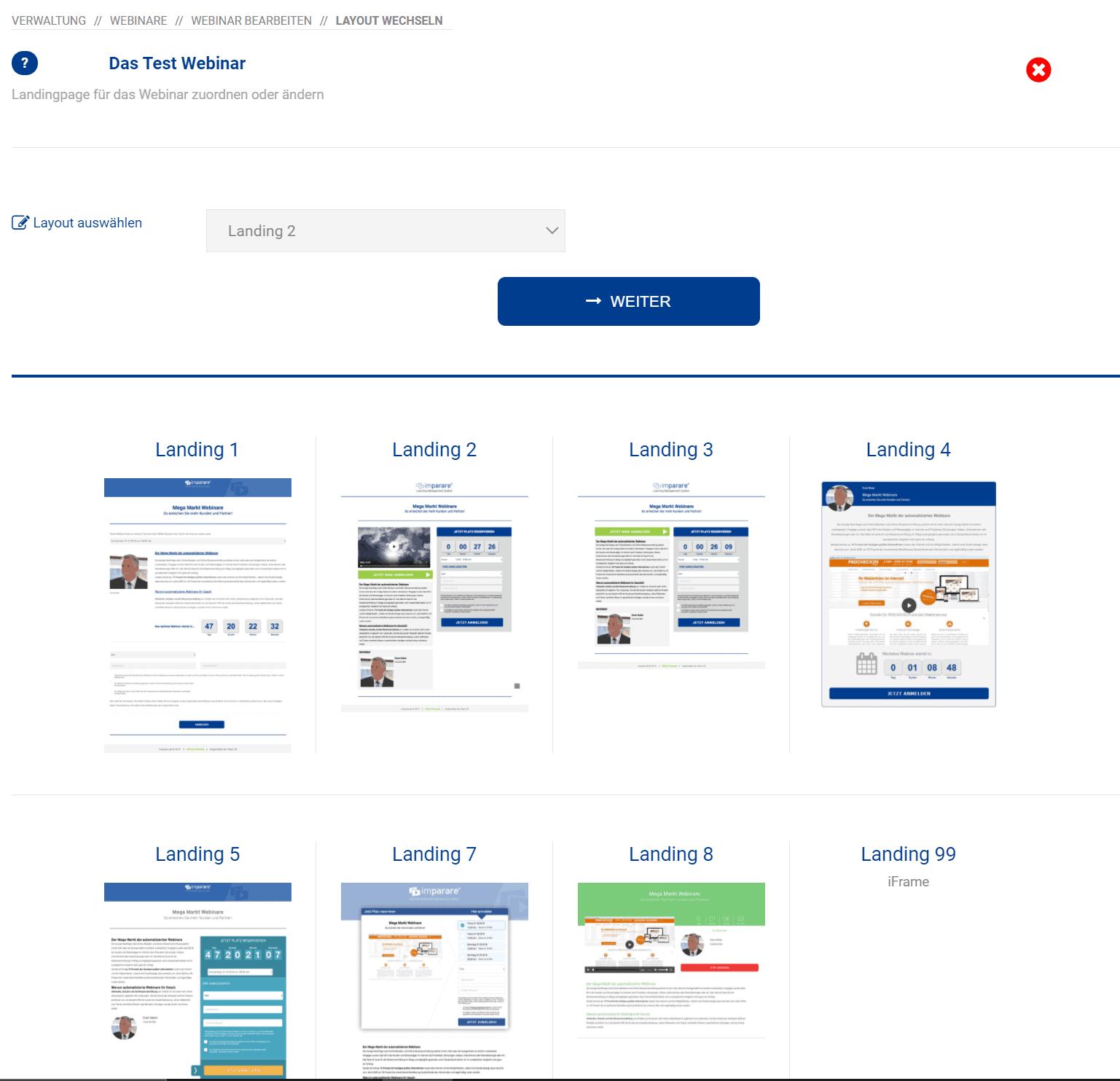 Imparare Webinar landing Page Vorlagen