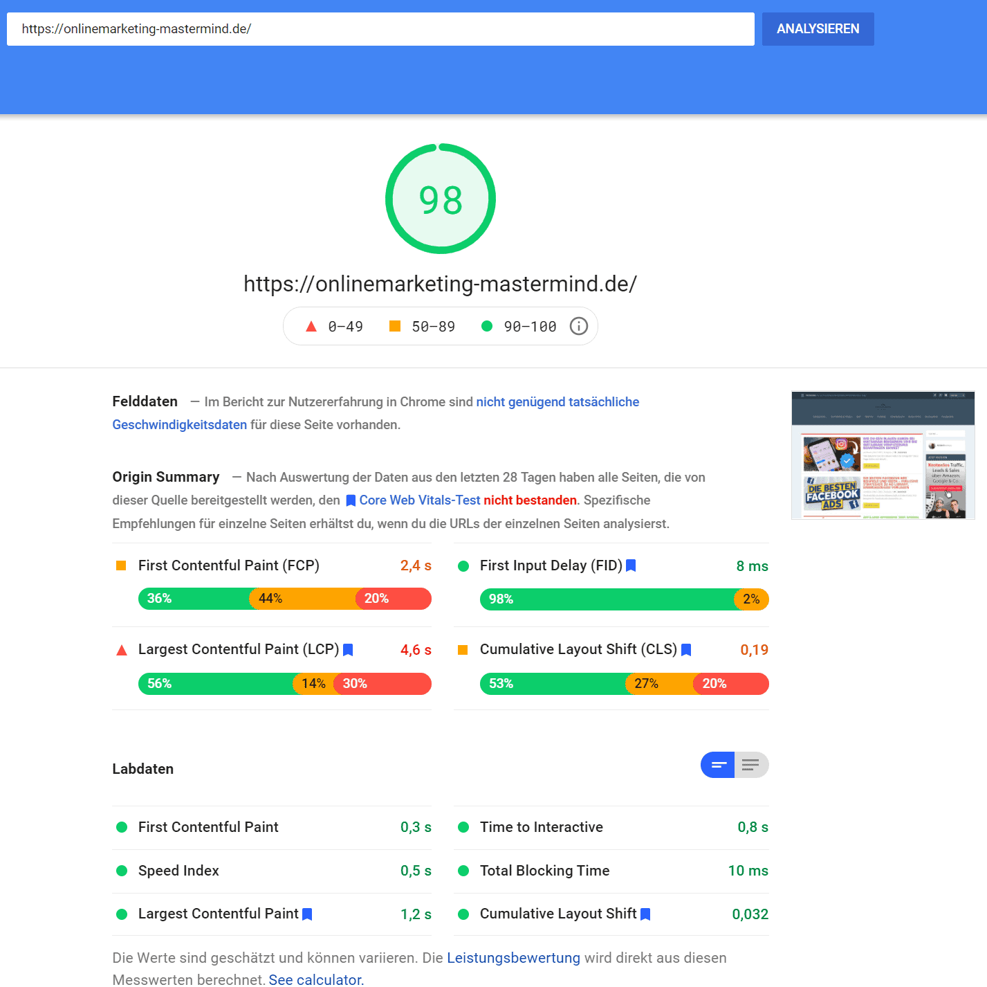 Onlinemarketing Mastermind Ladegescwindigkeit desktop