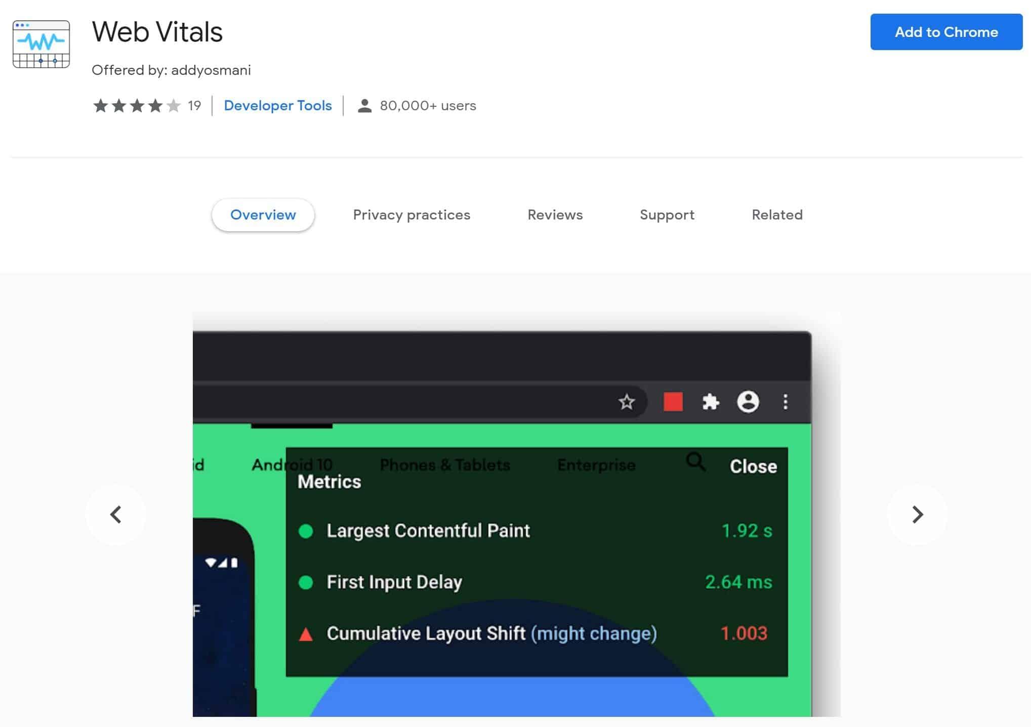 Core Web Vitals Google Chrome Extension