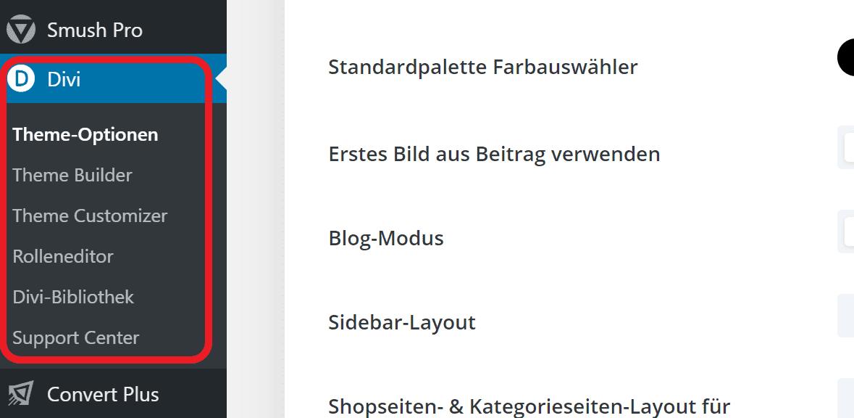 Divi Theme WordPress Backend