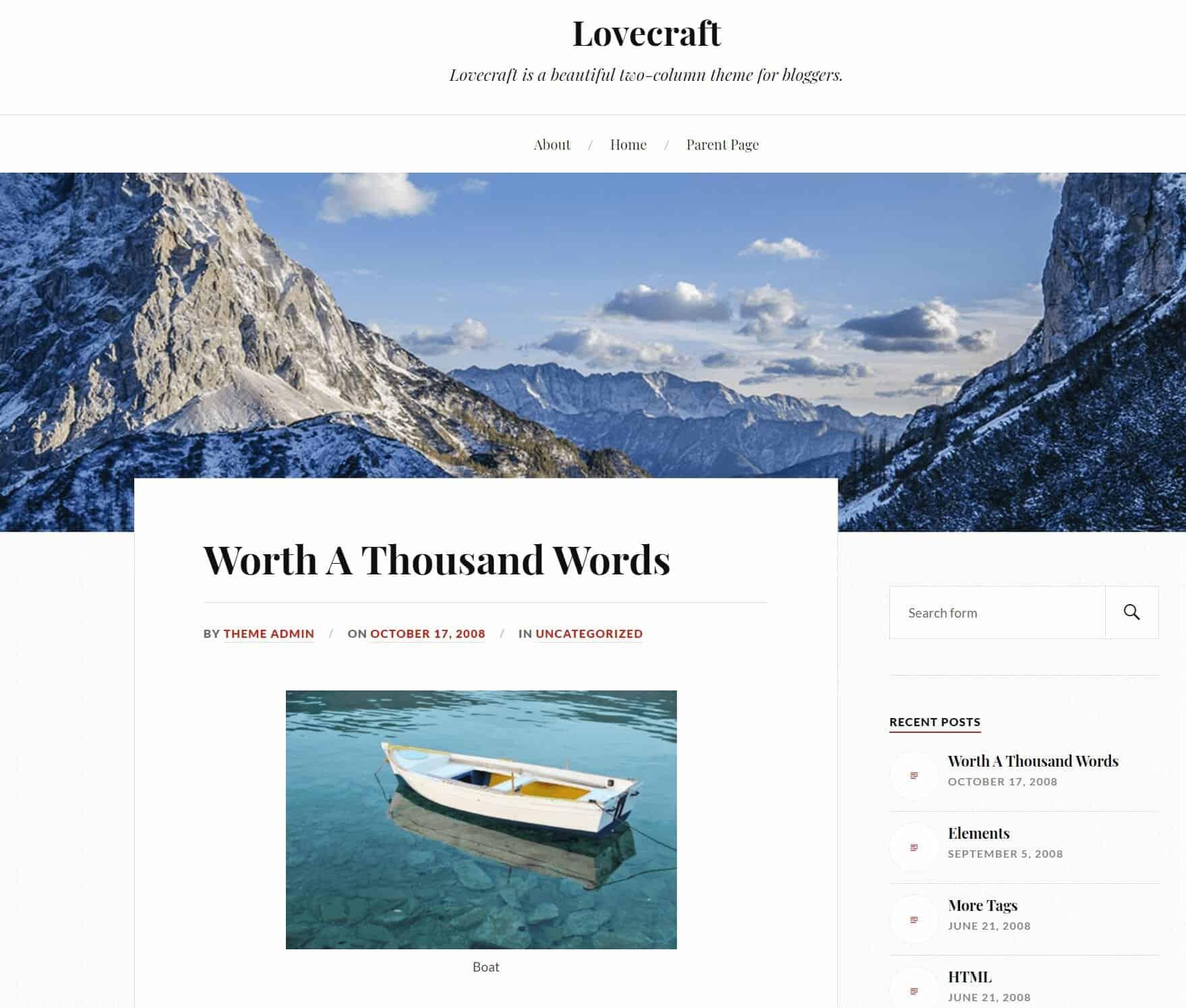 Lovecraft WordPress Blog Theme