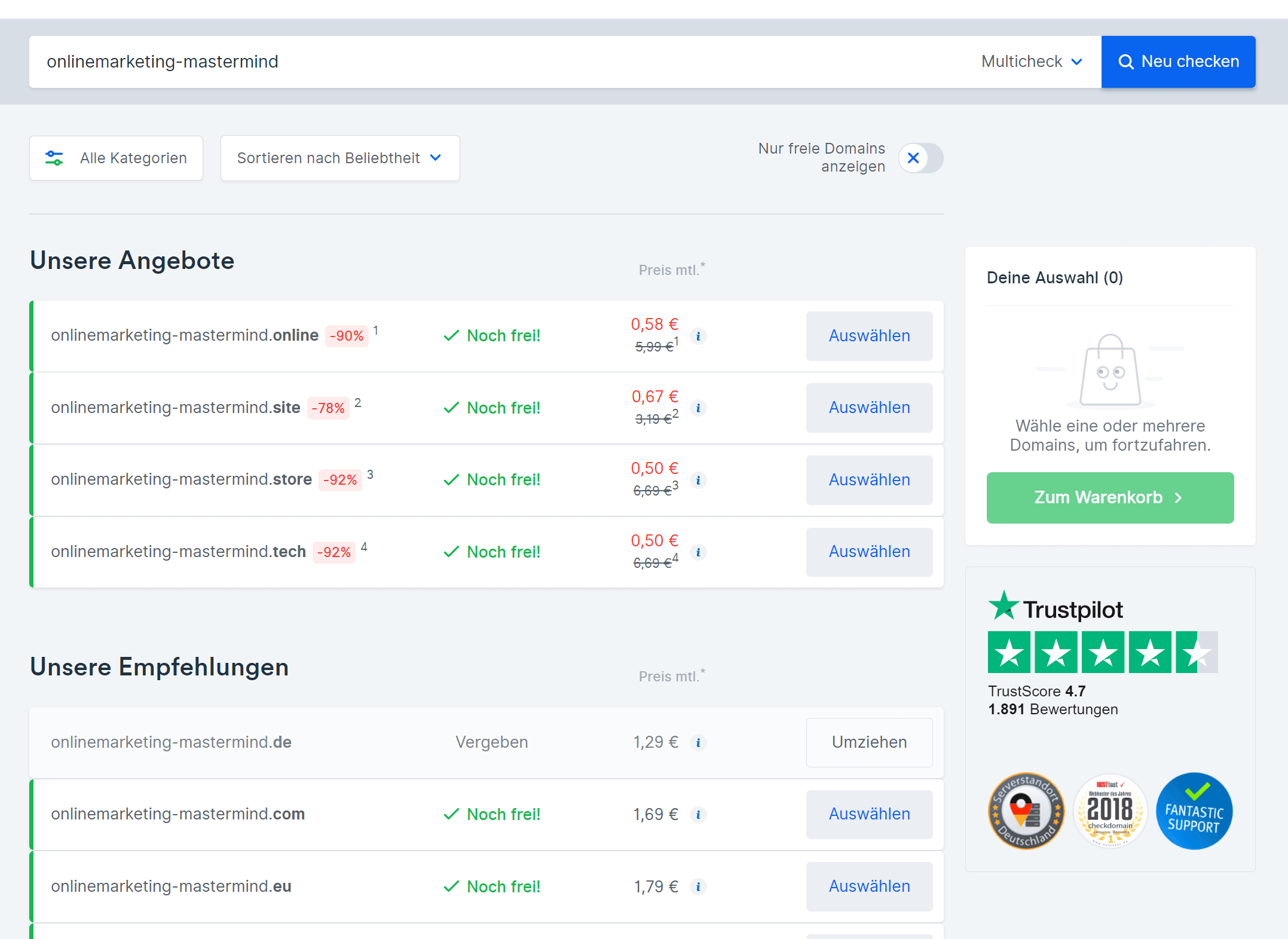 Checkdomain verfügbare Domains