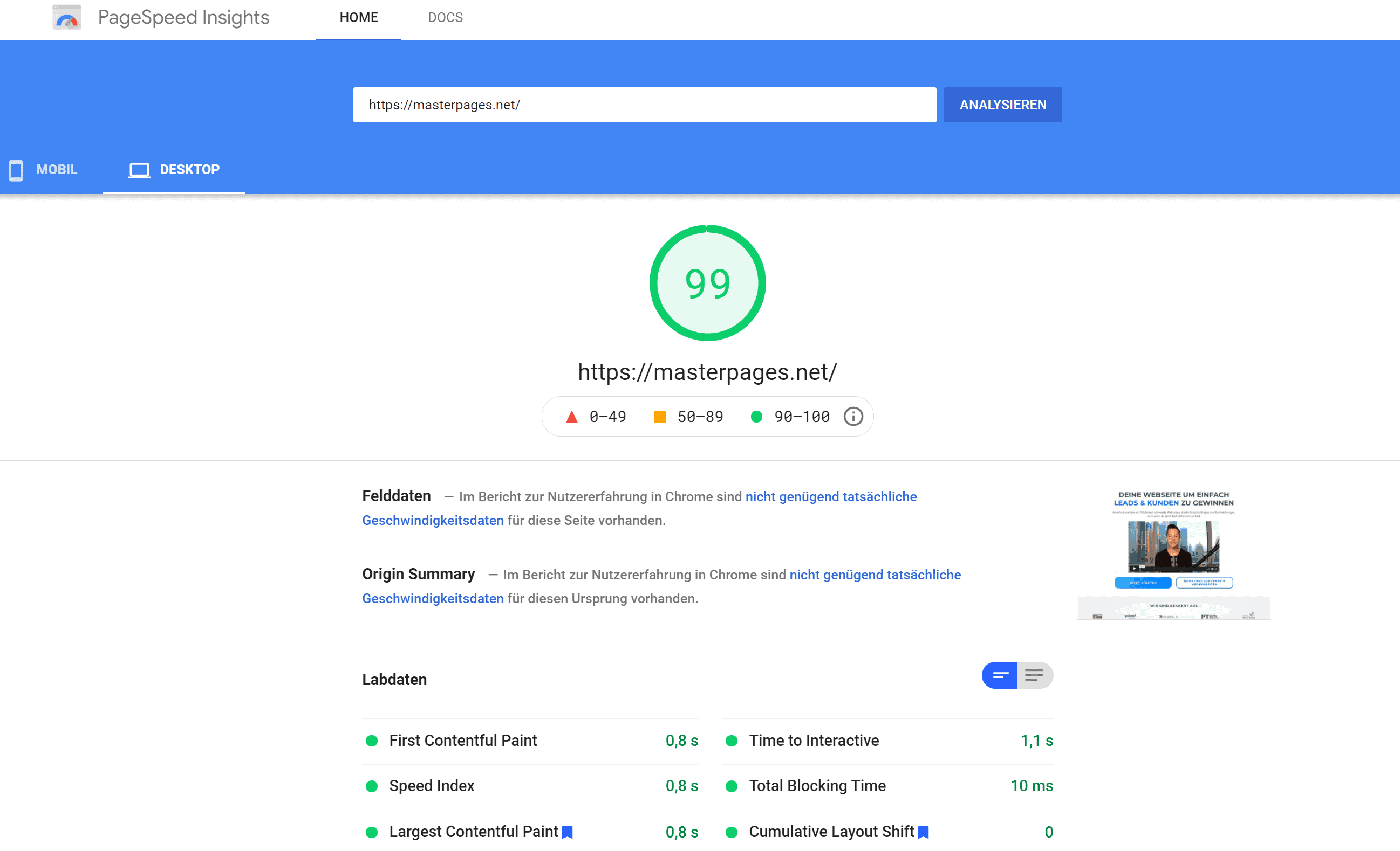 Masterpages Speedtest Desktop
