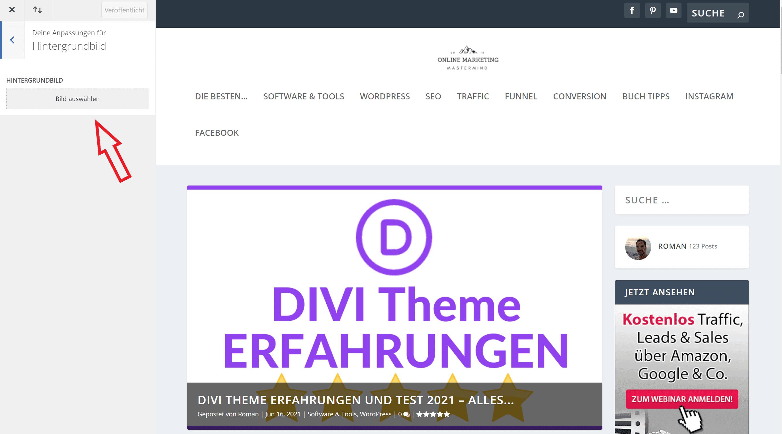 Wordpress Hintergrundbild