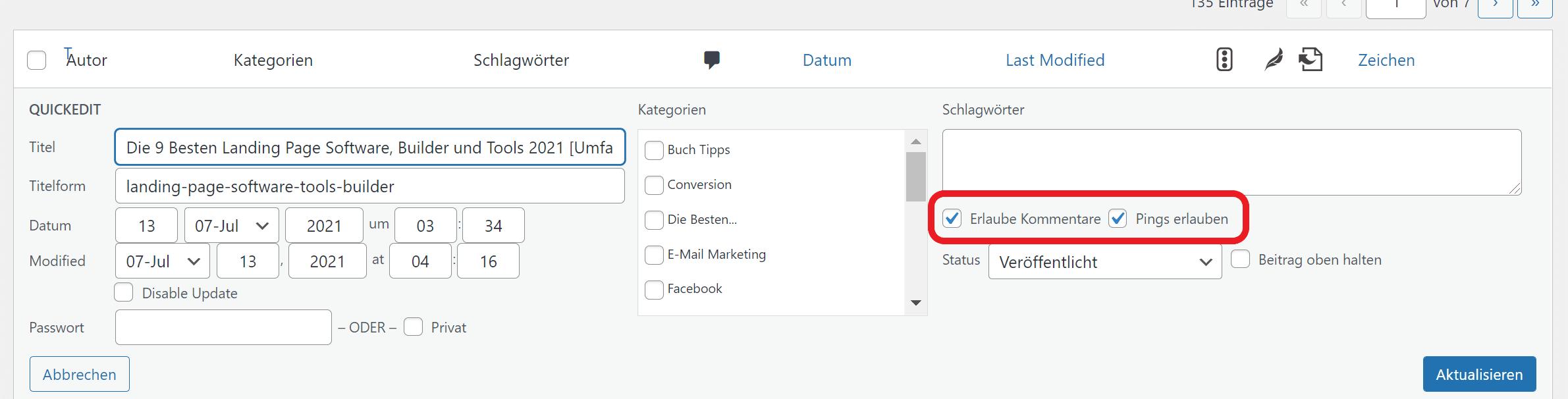 WordPRess Kommenatre deaktivieren quick edit
