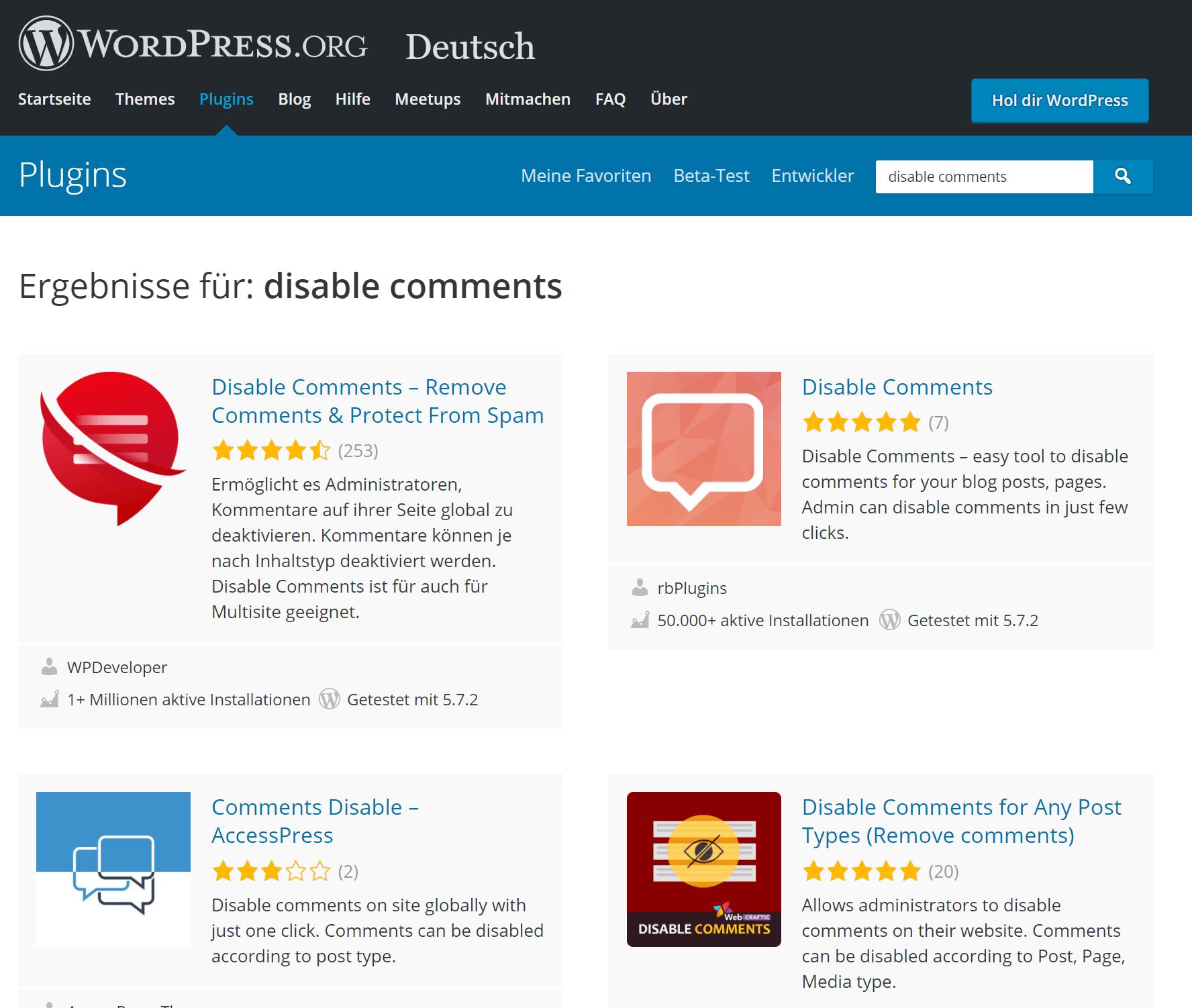WordPress Kommenatre deaktivieren Plugin