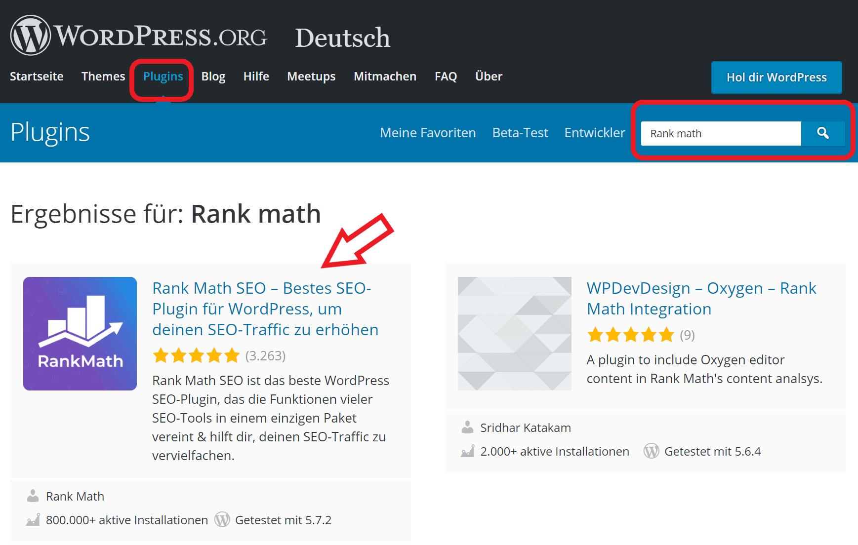 WordPress Plugins suchen