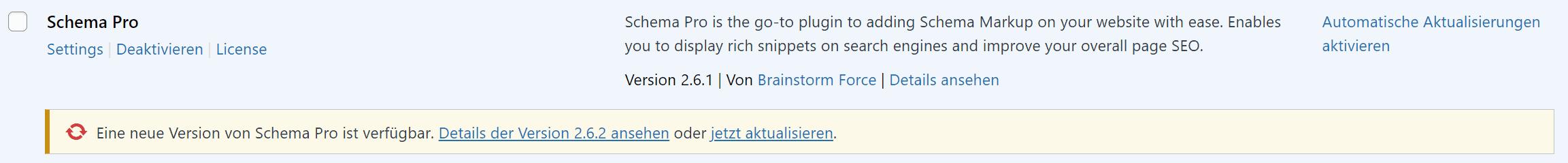 WordPRess Plugin update
