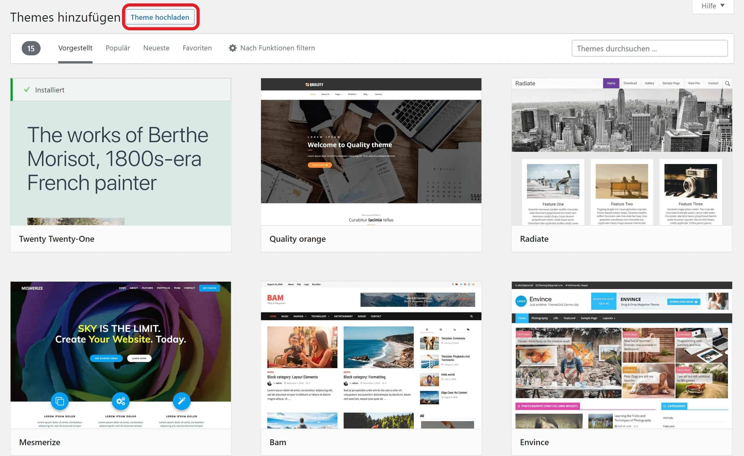 WordPress Theme hochladen