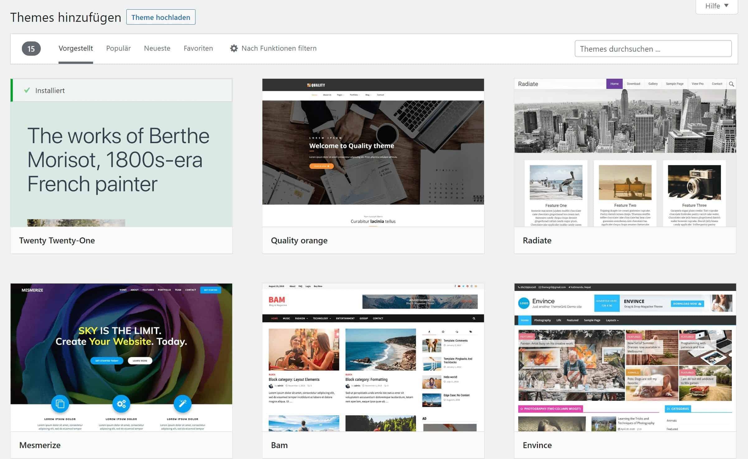 WordPress Theme suchen