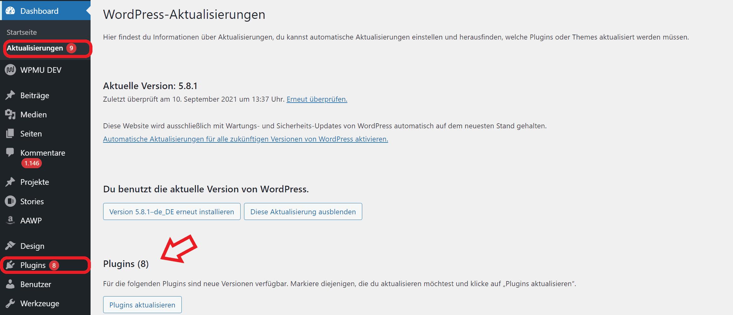 WordPress Plugins Updates Aktualisierungen